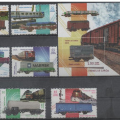 Cuba, trenuri, 2015, serie si colita, MNH - Timbre straine, Nestampilat