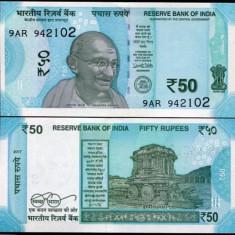 !!! NOU : INDIA - 50 RUPII 2017 - P NEW - UNC / LITERA L - bancnota asia
