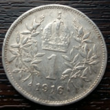 (A167) MONEDA DIN ARGINT AUSTRIA - 1 CORONA 1916, FRANZ JOSEPH, 5 GR., 835/1000, Europa