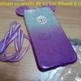 Husa silicon cu urechi de soricel IPhone 6 roz si mov, iPhone 6/6S