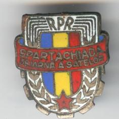 SPARTACHIADA de IARNA a SATELOR RPR 1950's - Insigana sport superba Romania - Insigna
