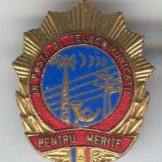 Pentru MERITE in POSTA si TELECOMUNICATII - Insigna veche romaneasca 1970's