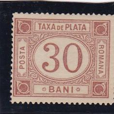 ROMANIA 1885 TAXA DE PLATA TIPAR BRUN ROSCAT VALOAREA 30 BANI MNH - Timbre Romania, Nestampilat