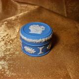 Cutiuta Caseta, Portelan Wedgewood Jasperware Albastru Pal, Colectie