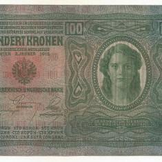 AUSTRIA AUSTRO-UNGARIA 100 KRONEN KORONA 1912 [02] P-12 scrie UNA SUTA COROANE - bancnota europa