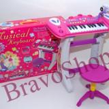Orga cu scaunel si microfon functional pentru fetite - BB33D - Instrumente muzicale copii
