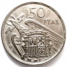 MOKAZIE, SPANIA, 50 Pesetas 1957 - Francisco Franco, DIAMETRU 30mm, Europa, Crom