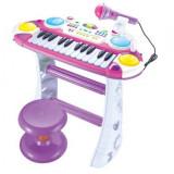 Orga de jucarie cu scaunel si microfon functional pentru fetite - BB335D - Instrumente muzicale copii