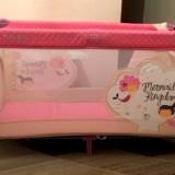 Patut pliabil/tarc de joaca pentru copii - Patut pliant bebelusi Baby Mix, 120x60cm, Roz