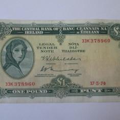 Irlanda 1 Pound 1974 - bancnota europa