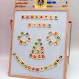 Tabla din lemn pentru desen (5in1) - calculator, numaratoare, ceas si tabla magnetica. Super atractiva! - Jocuri arta si creatie