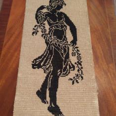Antique Vintage Goblen Tapestry Women WW2 Period 45x22cm HandMade Gobelin - Broderie