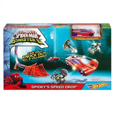 Set Hot Wheels Marvel Ultimate Spider Man Vs. The Sinister 6 Spidey s Speed Drop - Masinuta Mattel