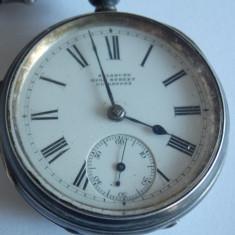 Ceas de buzunar din argint cu lant si cheie-Salsbury High street Guldford - Ceas de buzunar vechi