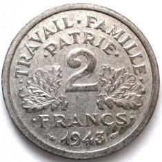 MOKAZIE, FRANTA, WW2, 2 FRANCS 1943, GUVERNUL DE LA VICHY, DIAMETRU 27mm., Europa, Aluminiu