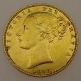 *  Moneda Sovereign 1855 Victoria Young Head -Shield - aur