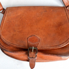Geanta de tip tolba din piele naturala - Geanta vintage