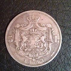 Moneda Argint 5 Lei 1883 Regele Carol I Romania - Cu Romb La Coroana - Moneda Romania