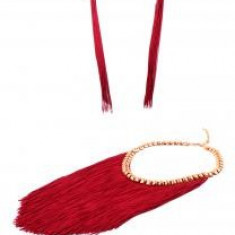 Colier si Cercei Statement Borealy Tassel Electric Red - Set bijuterii handmade si fashion