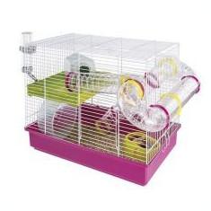 Cuşcă pentru hamsteri LAURA cu accesorii din plastic - Cusca, cotet, tarc si colivie