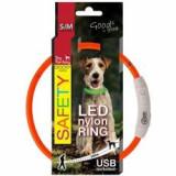 Zgardă pentru câine Fantasy LED nailon - portocaliu, 45cm