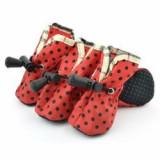 Pantofi pentru caini , rosu , buline negre- marimea 3