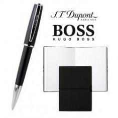 Set Pix S.T. Dupont St Michel Bille Laq Noire si Note Pad Black Hugo Boss