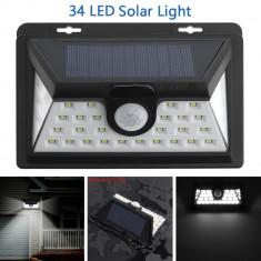 Proiector LED Solar cu senzor de miscare 34 LED SMD IP65 - Panou solar