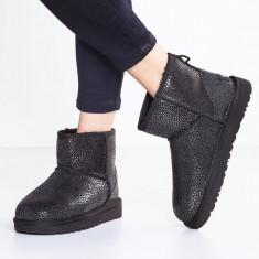 Cizme UGG la glezna- CLASSIC MINI GLITZY - Ankle boots 40 - Gheata dama Ugg, Culoare: Negru, Piele naturala