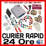 KIT UNGHII FALSE GEL UV MANICHIURA, PILA ELECTRICA - VARIANTA BIG HEART