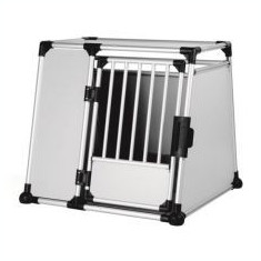 Cușcă din aluminiu pentru transport câini - 94 x 87 x 93 cm - Distantiere roti