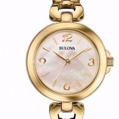 Ceas Bulova 97L138 DRESS gold dama NOU la cutie Garantie - Ceas dama Bulova, Elegant, Quartz, Placat cu aur, 30 m / 100 ft / 3 ATM
