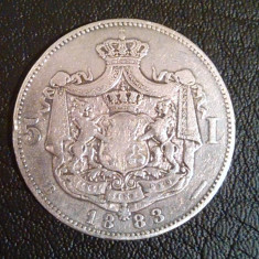Moneda Argint 5 Lei 1883 Regele Carol I Romania - Moneda Romania