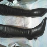 Cizme noi piele naturala, de dama, culoare negru, marimea 40