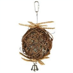 Minge pentru păsări- din răchită, cu clopoţel, 10 cm
