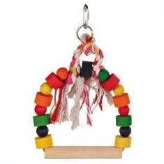 Jucărie pentru păsări- leagăn colorat cu funie 13x19cm