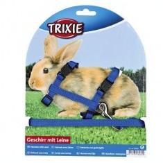 Ham cu lesă pentru iepuri - cu capsă de plastic, albastru - Zgarda, lesa si ham