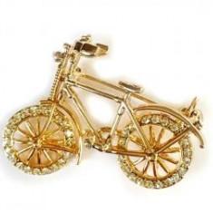Brosa Bicicleta Gold by Borealy - Brosa placate cu aur