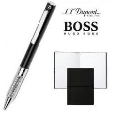 Set Pix S. T. Dupont Bille Black Diamond si Note Pad Black Hugo Boss