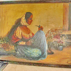 Tablou mare vechi Tiganca-Maria Oprean 1943 ulei/panza., Scene gen, Realism