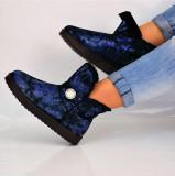 Cizme dama imblanite albastre metalice iarna negre scurte pietre 40, Din imagine, Piele sintetica
