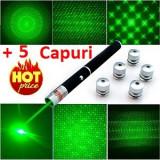 Laser Verde Lasere Pointer + 5 Capuri Interschimbabile - Laser pointer