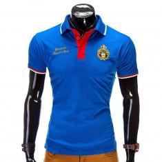 Tricou pentru barbati polo, albastru, logo piept, slim fit, casual - S505 - Tricou barbati