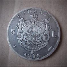 V- 5 lei 1880, frumos! - Moneda Romania, Argint