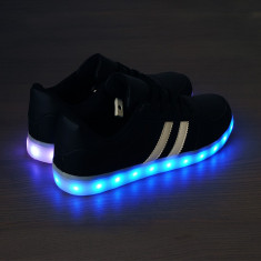 Adidasi cu Leduri Black-Superstar unisex - Adidasi dama, Marime: 40, 41, 42, 43, 44, 45