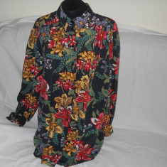 Camasa dama, imprimeu floral, vascoza, Marime: 50, Culoare: Multicolor, Maneca lunga, Elegant