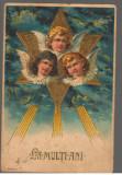 CPI (B9725) CARTE POSTALA - LA MULTI ANI!, 1908, GERMANIA, STEAUA LUI DAVID, Circulata, Fotografie