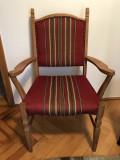 Set de scaun si bancuta,rustice,daneze,din lemn,tapitate