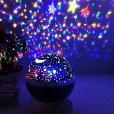 Lampa De Veghe Cu Proiector Rotativ Cu Stele Si Luna. - Lampa veghe copii, Albastru
