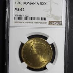 500 lei 1945 UNC NGC MS 64 B - Moneda Romania
